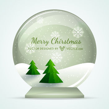 Snow Globe with Xmas Trees & Snowy Landscape - vector gratuit #164431