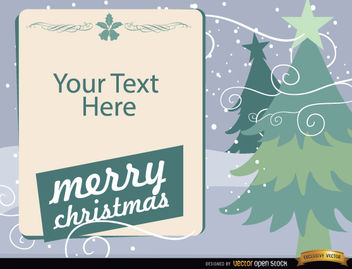 Christmas trees with text message - vector gratuit #164561