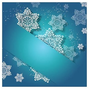 Labeled Up Turquoise Xmas Invitation with Snowflake - vector gratuit #164571