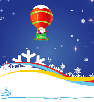 Santa Claus Flying by Air Balloon on Blue Background - Free vector #164581