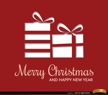 Christmas rectangles red gifts background - vector gratuit(e) #164681