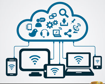 Internet cloud computer connections - Free vector #164741