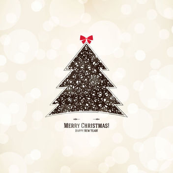 Vintage Abstract Christmas Tree on Bokeh Background - vector gratuit #164751
