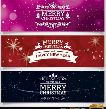 3 Christmas ornaments banners - vector gratuit #164771