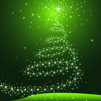 Decorative Starry Christmas Tree on Green Background - vector gratuit #164791