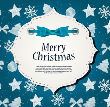 Decorative Christmas Banner on Blue Background - vector gratuit(e) #164811