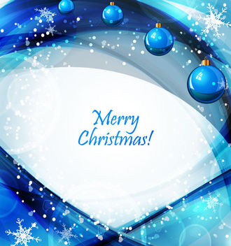 Blue Waves Glowing Snowflakes & Christmas Balls - Free vector #164851