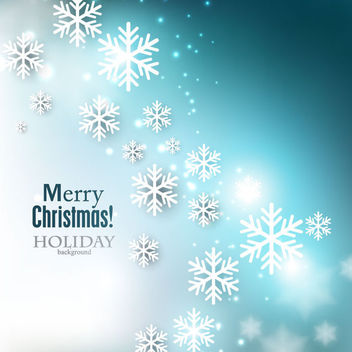 Blue Christmas Background with Shiny Snowflakes - Free vector #164861