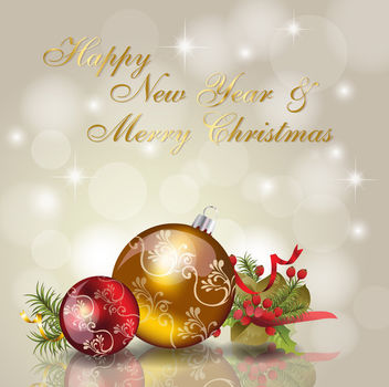 Shiny Christmas Background with Decorative Balls - vector gratuit(e) #164901