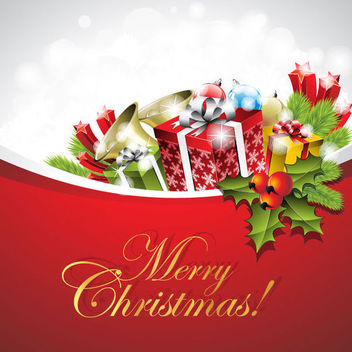 Christmas Card with Gift & Ornaments - Free vector #164991
