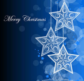 Blue Christmas Background with Hanging Stars - vector gratuit #165001