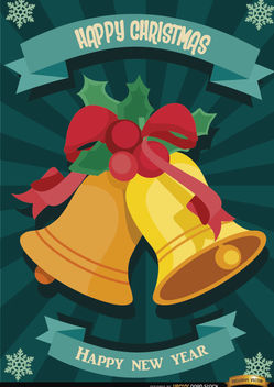 Christmas bells radial stripes wallpaper - vector gratuit(e) #165091
