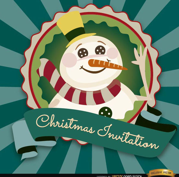 Christmas snowman invitation label - vector #165151 gratis