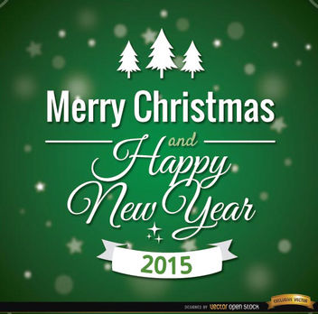 Green Merry Christmas card message - Free vector #165211