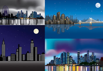Beautiful Abstract City Pack in the Night - Free vector #165221