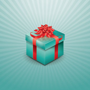 Wrapped Up Gift Box on Starburst Background - vector gratuit #165231
