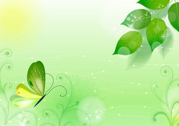 Spring Green Floral Background with Butterfly - Free vector #165241