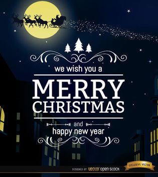 Merry Christmas city night background - vector gratuit #165271