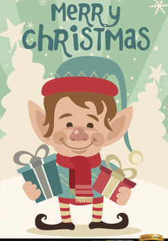 Merry Christmas Elf background - vector gratuit #165281