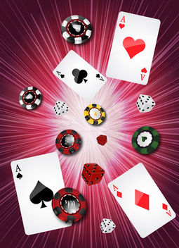 Casino Background with Gambling Objects - vector gratuit #165331