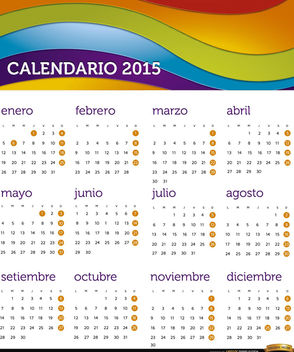2015 Rainbow calendar Spanish - Kostenloses vector #165361