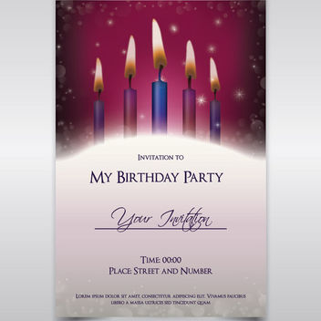 Candle Light Birthday Invitation Template - Free vector #165371