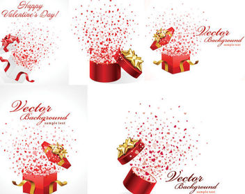 Romantic Celebration Gift Box Pack - Free vector #165381