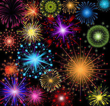 Bright Colorful Detailed Firework Pack - Free vector #165391