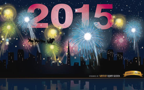 2015 Year Fireworks skyline - бесплатный vector #165451