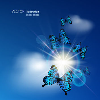 Shiny Sun Glare on Blue Sky with Butterflies - бесплатный vector #165461