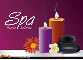 Candles flowers spa background - vector gratuit #165581