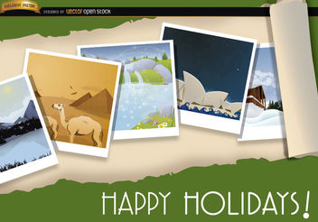 Pictures of tourism around world background - Free vector #165611