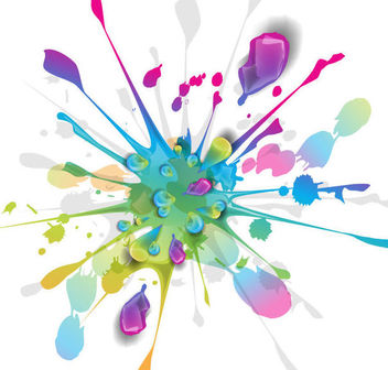 Splashing Ink Paint Colorful Background - vector gratuit #165681