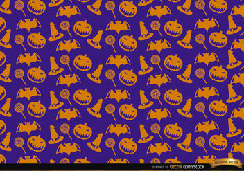 Orange Halloween objects texture on purple background - vector #165841 gratis