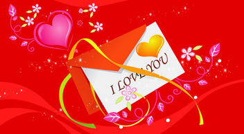Red Valentine Card with Hearts & Flowers - vector #166141 gratis
