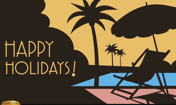 Vacations by the pool background - Free vector #166211