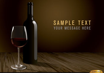 Wine bottle and glass background - vector gratuit #166221