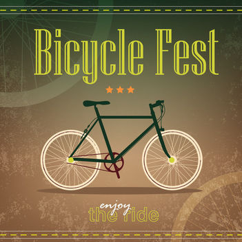 Retro Grungy Bicycle Fest Poster Template - бесплатный vector #166281