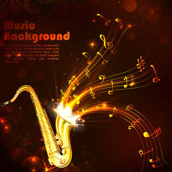 Creative Gold Musical Background with Saxophone - vector #166331 gratis