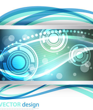 Dynamic Waves and Lines Glowing Background - Free vector #166401