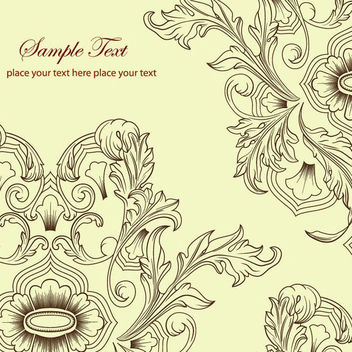 Retro Line Art Classic Floral Background - Free vector #166411