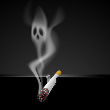 Quit Smoking Cigarette with Smoky Skull - Kostenloses vector #166451