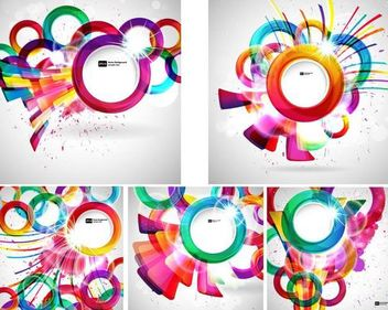 Creative Colorful Circles Abstract Background Set - Free vector #166661