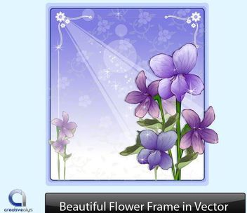 Purple Flower Frame with Ornaments - vector #166691 gratis