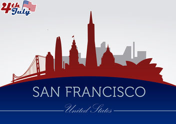 San Francisco city silhouettes on July 4th - Free vector #166751