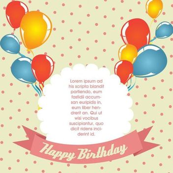 Polka Dot Vintage Birthday Card - Free vector #166901