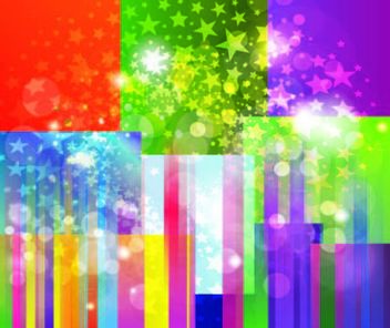 Colorful Striped Background with Star Explosion - vector gratuit #167121