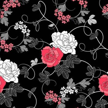 Seamless Retro Rose Pattern Black Background - Kostenloses vector #167231