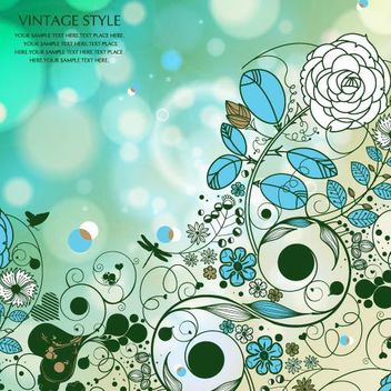 Retro Flowers with Bubbles Background and Butterfly - vector gratuit #167281