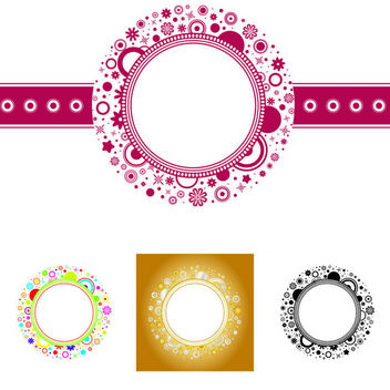 Elliptical Floral Frame Template - Free vector #167461